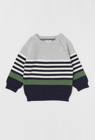 Striped Sweater with Long Sleeves and Button Closure