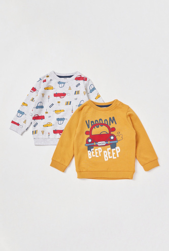 Set of 2 - Graphic Print Sweatshirt with Round Neck and Long Sleeves