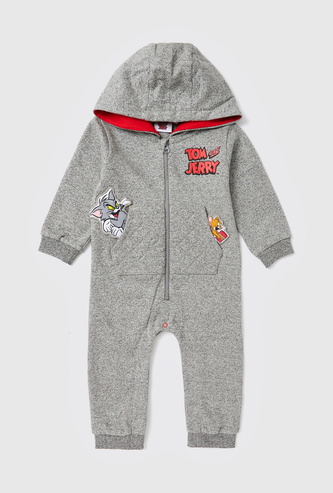 Tom and Jerry Print Romper with Long Sleeves and Hood