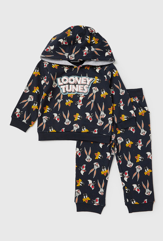 Looney Tunes Print Hooded Sweatshirt and Jog Pants Set