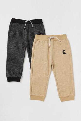 Set of 2 - Textured Jog Pants with Drawstring Closure