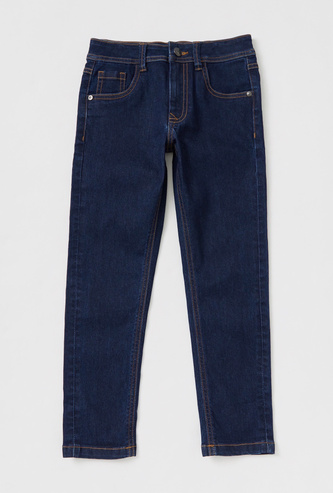 Solid Full Length Denim Jeans with Pockets and Zip Closure