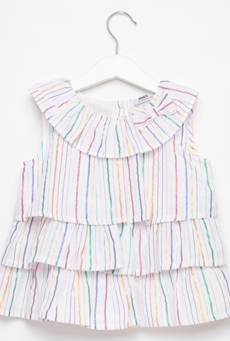 Striped Sleeveless Top with Round Neck and Bow Applique Detail