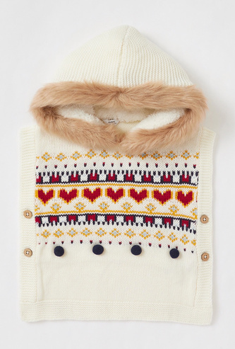 Textured Hooded Poncho with Button and Plush Detail