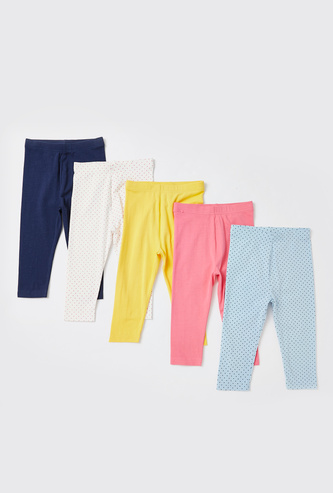 Set of 5 - Assorted Leggings with Elasticated Waistband