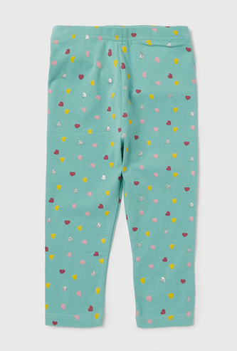 Heart Printed Leggings with Elasticised Waistband