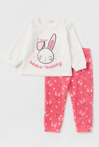 Embroidery Detail T-shirt with Long Sleeves and Jog Pants Set