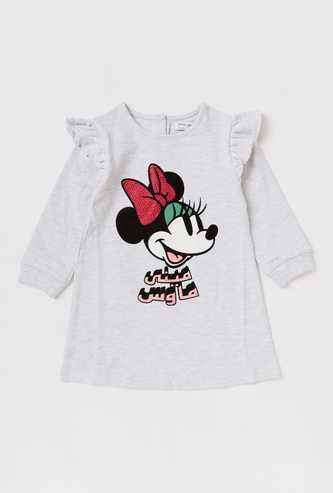 Minnie Mouse Print Knee-Length Dress with Long Sleeves and Ruffle Detail