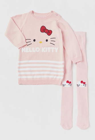Hello Kitty Print Sweater Dress with Stockings