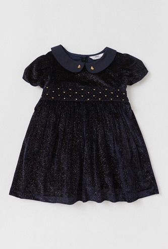 Embellished Dress with Peter Pan Collar and Cap Sleeves