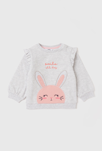 Bunny Embroidered Detail Sweatshirt with Long Sleeves and Ruffles