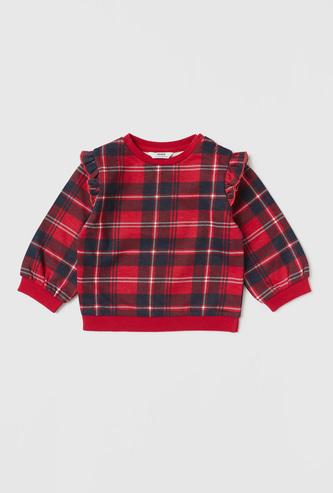 Tartan Checks Round Neck Sweatshirt with Long Sleeves