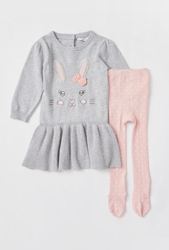 Bunny Embroidered Sweater Dress and Stockings Set