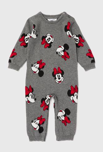 All-Over Minnie Mouse Print Romper with Round Neck and Button Closure