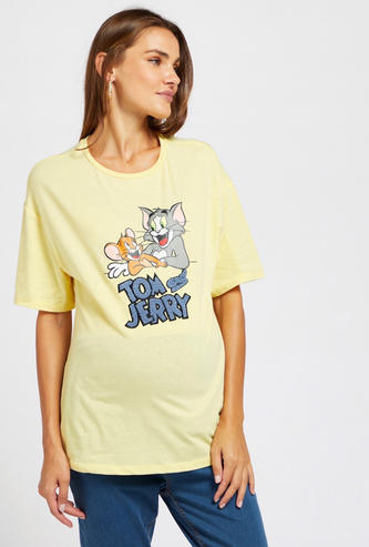 Tom and Jerry Print Maternity T-shirt with Short Sleeves