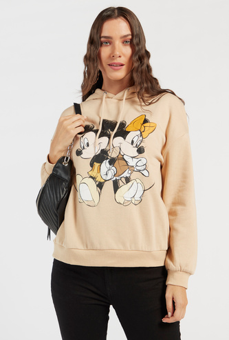 Mickey & Minnie Mouse Print Sweatshirt with Long Sleeves and Hood