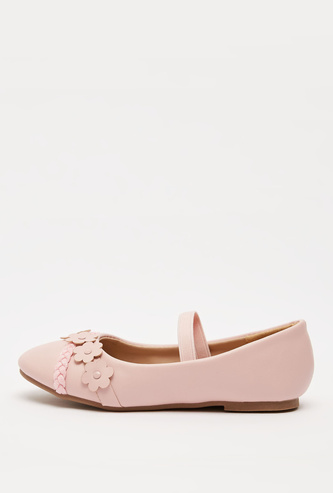 Ballerinas with Floral Applique with Elastic Band