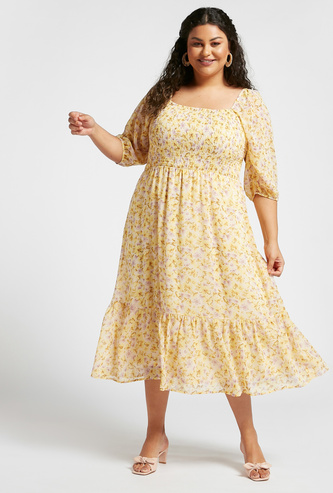 All-Over Floral Print Smocking Detail Midi Dress with Square Neck