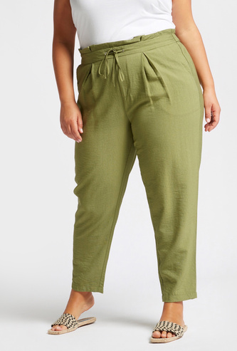 Solid Tapered Pants with Paperbag Waist and Pocket Detail