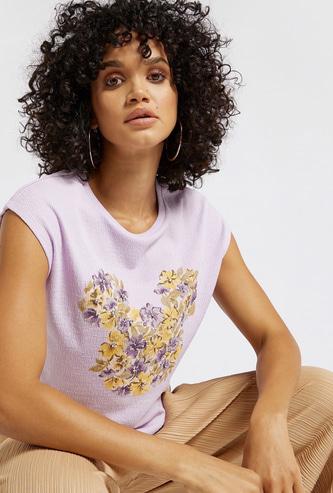 Floral Print Round Neck Sleeveless Top