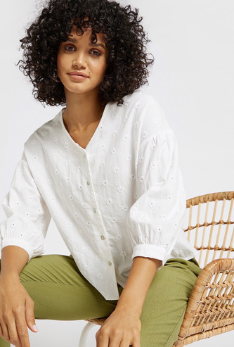 Schiffli Embroidered V-neck Top with 3/4 Sleeves