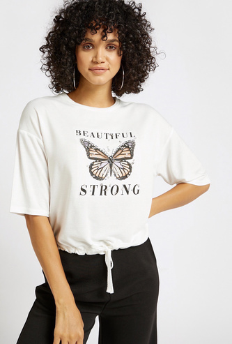 Embellished and Graphic Print Top with Cord Hemline