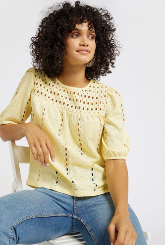 Broderie Anglaise Top with Round Neck and Short Sleeves