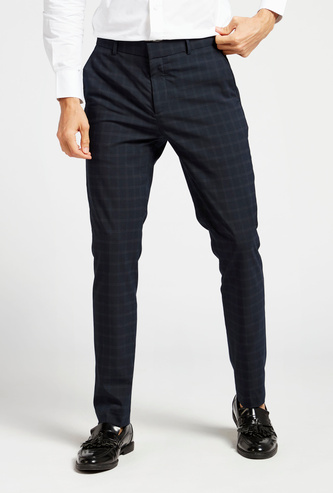 Slim Fit Checked Pants with Pocket Detail and Belt Loops