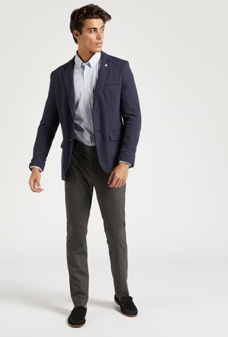 Slim Fit Solid Trousers with Belt Loops and Pockets