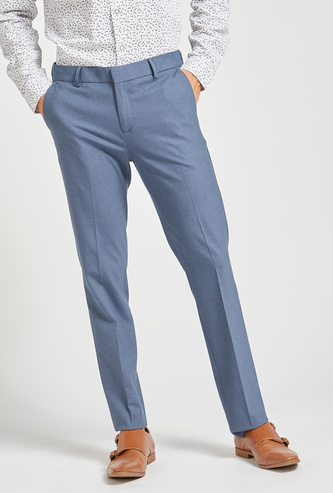 Solid Slim Fit Formal Pants with Button Closure