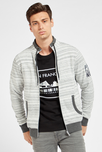 Space Dye Jacket with Long Sleeves and Pocket Detail