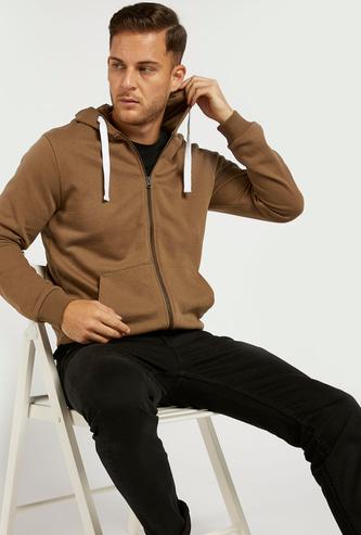 Solid Hoodie with Zip Closure and Long Sleeves