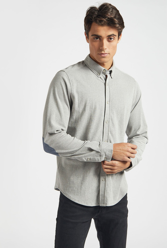 Solid Shirt with Button Down Collar and Long Sleeves