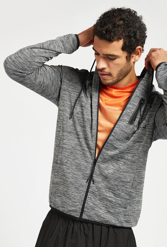 Injected Print Hoodie with Pockets and Zip Closure