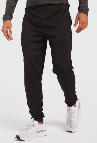 Solid Panelled Jog Pants with Elasticated Waistband