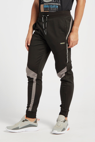 Panel Detail Slim Fit Jog Pants with Pockets