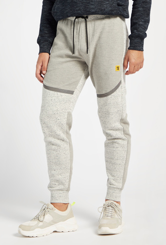 Textured Panelled Jog Pants with Reflective Tape Detail