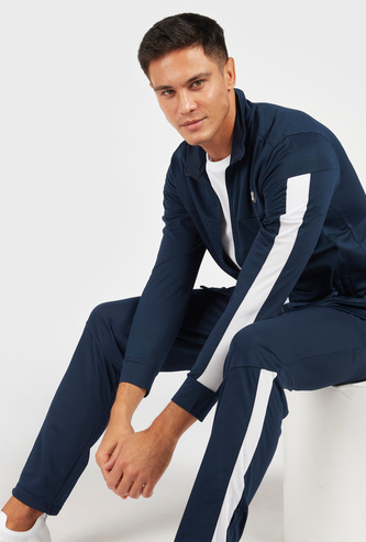Solid Jacket with Side Mesh Detail and Zip Closure
