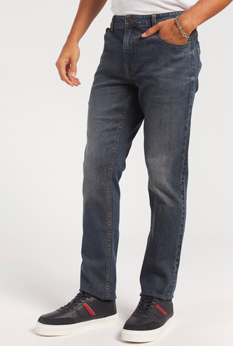 Full Length Jeans with Pockets and Zip Closure