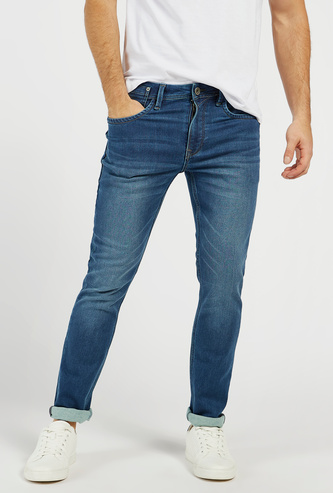 Solid Skinny Fit Mid-Rise Denim Jeans with Pockets and Zip Closure