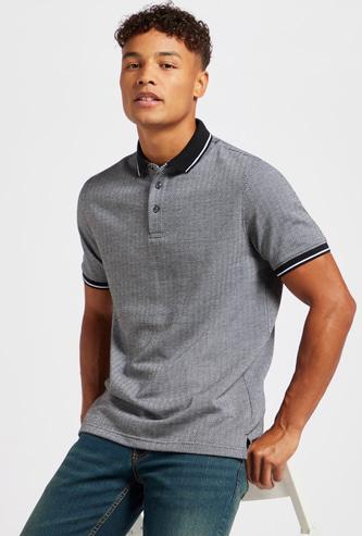 Herringbone Print Polo T-shirt with Short Sleeves