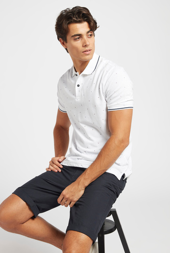 All-Over Print Polo Neck T-shirt with Short Sleeves