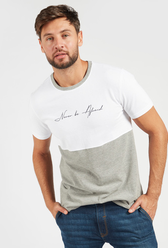 Text Print Cut and Sew T-shirt with Short Sleeves