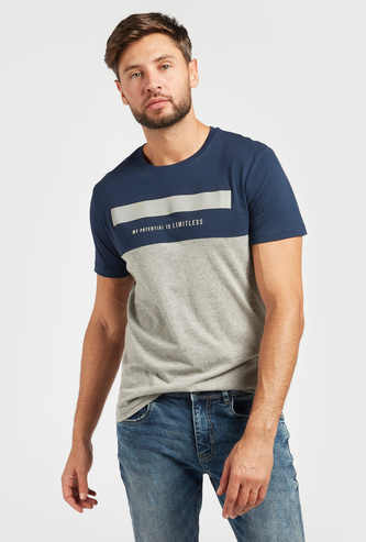 Typographic Print Panelled T-shirt with Crew Neck and Short Sleeves