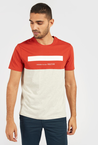 Typographic Print Panel Detail T-shirt with Crew Neck and Short Sleeves