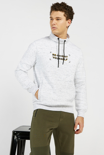 Injected Print Sweatshirt with Cowl Neckline and Long Sleeves