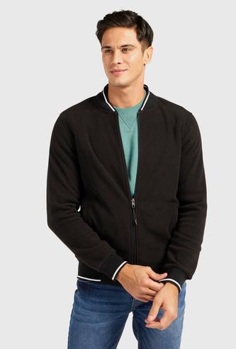 Fleece Jacket with Mandarin Collar and Long Sleeves