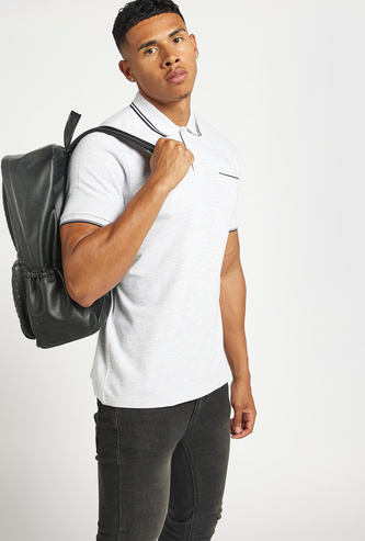 Solid Polo T-shirt with Tipped Collar and Short Sleeves