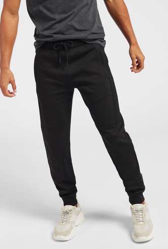 Slim Fit Solid Jog Pants with Drawstring and Pockets