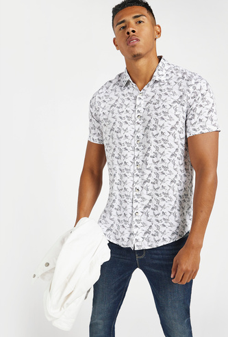 Birds Print Shirt with Short Sleeves and Complete Placket